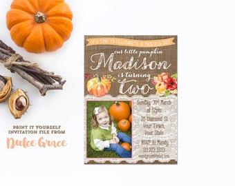 pumpkin 2nd birthday invitations, fall birthday invitation, turning two invites, little pumpkin invite, 2nd birthday party, print yourself