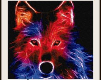 Fractal wolf, cross stitch pattern, wolf pattern, wolf cross stitch, wolf cross stitch pattern, wolf, PDF pattern, instant download!