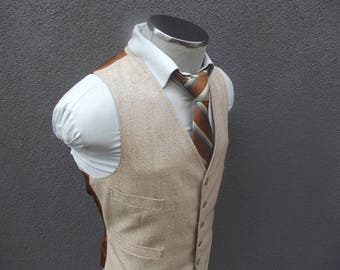 1970s Vintage Oatmeal Beige Vest / Beige Waistcoat Size 42 Large Lrg L / Mens Suit Vest / 70s Vintage Waistcoat / VTG Men's Waistcoat
