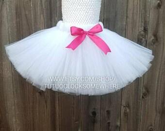 Customizable White Tutu Skirt, White Holiday Tutu, White Adult Tutu, White Christmas Tutu, White Plus Size Tutu, White Pink Tutu