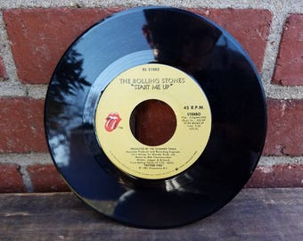 Vintage 45 Record - The Rolling Stones - Start Me Up & No Use In Crying