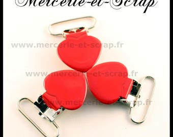 SET of 2 pins strap red 25mm heart shape