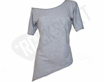 Off shoulder tunic asymmetric t-shirt for women in gray or black