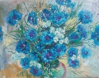 Picture Art Original Oil Painting-  Flowers  Home Decor Cornflowers