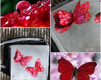 Linen gray double red butterflies grey linen Messenger bag