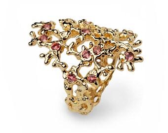 SEA SPRAY Gold Tourmaline Ring, Pink Tourmaline Ring, Birthstone Ring, Gold Ring, Statement Ring