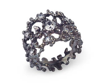 BLACK CORAL Black Silver Ring, Oxidized Sterling Silver Ring, Statement Ring, Sculpture Ring, Black Ring with CZ