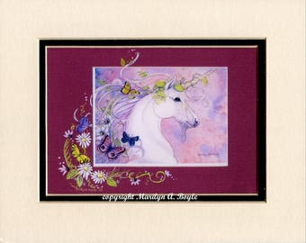 HAND ENHANCED UNICORN Print, matted 8 x 10 inches, enhanced with tiny gems and sparkle, flowers and butterflies, wall art,