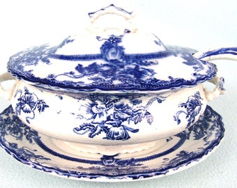 Antique Soup Tureen, Ladle and Stand, Complete Serving, Starter Course, Winter Soups, Blue and White, Floral Patterns, Oval Tureen, Tedworth