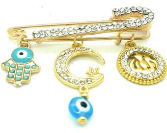 Allah evil eye pin, muslim bsby gift, islamic baby gift, Allah pin, Eid Mubarak gift, star and moon pin, muslim symbol safety pin, hamsa pin