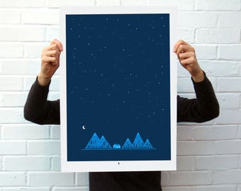 Night Mountains Screen Printed Poster | Silk Screen | Illustrated Hand Printed Forest Art Print | Outdoors Screen Print