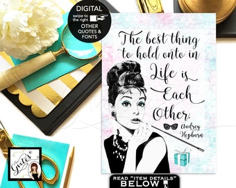 """Audrey Hepburn Quote sign print, favors, gifts, Breakfast bridal shower decor, wall art CUSTOMIZABLE {4x6"""" or 5x7""""}"""