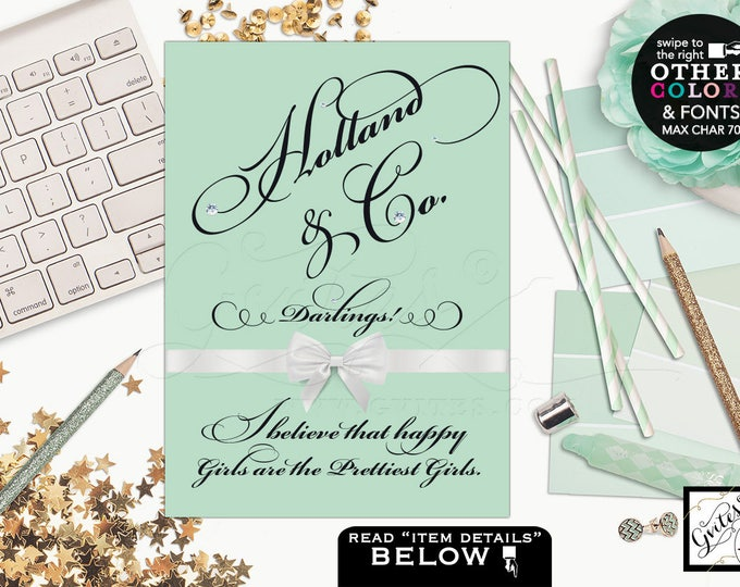 Breakfast at Tiffany's bridal shower signs, centerpiece, birthday thank you signs, table decorations, desserts sign. Avail: 4x6, 5x7 & 8x10