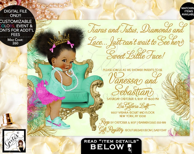 Pink Mint and Gold Baby Shower Printable Invitation, Magenta and Mint Green, Princess African American Baby Invites, 7x5, Digital File Only!