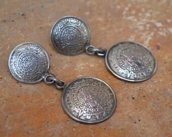 Mayan or Inca Style Pierced Earrings Vintage