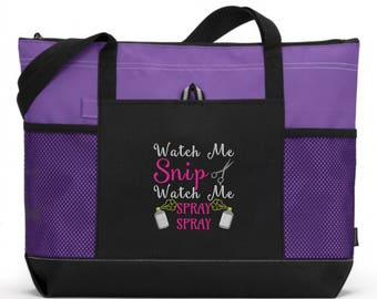 Hairdresser Tote/ Hairstylist Tote/ Embroidered Watch Me Snip Watch Me Spray Spray Hairdresser Hairstylist Tote Bag/ Hairdresser Gift