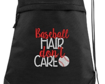 Baseball Drawstring Bag/ Embroidered Baseball Bag/ Baseball Hair Don't Care/ Baseball Cinch Drawstring Bag/ Baseball String Bag