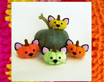 Crochet Halloween Pattern. Amigurumi Pumpkin cats (pumpkittens). Halloween toy. Fall gift. Souvenir. Fairytal gift. Diy kit. Trick or treat