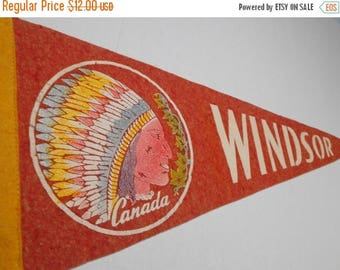 SALE Vintage Windsor Canada Souvenir Pennant Banner