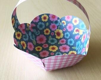 pretty in pink gingham printed cardboard hexagonal Easter basket