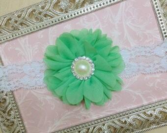 Mint Baby Headband - Baby Headband - Mint Headband - Toddler Headband - Mint Newborn Headband - Newborn Headband - Flower Headband