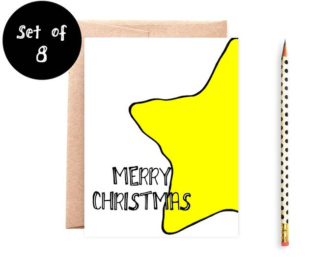 Yellow Star Boxed Christmas Cards