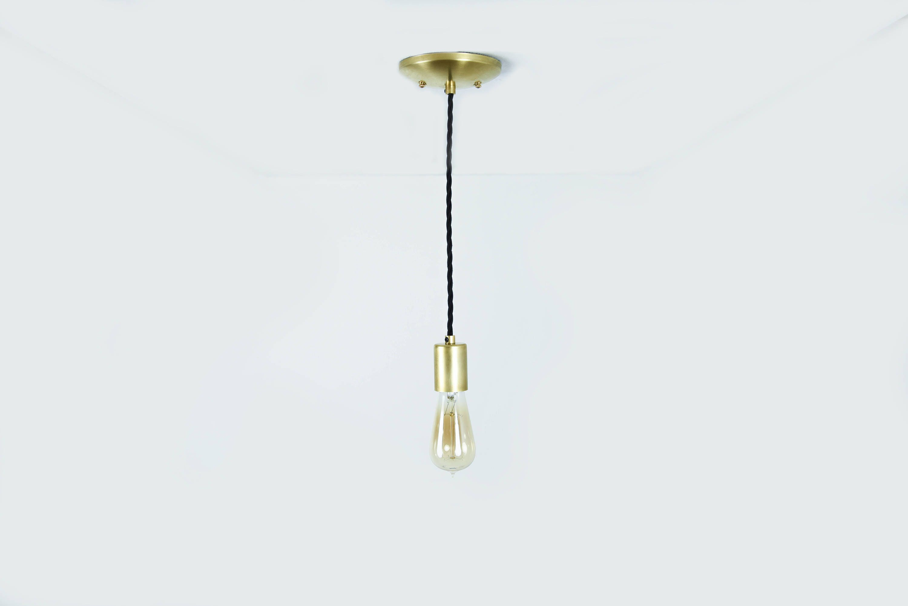 Sale in stock gold industrial pendant light bare bulb socket gold industrial pendant light bare bulb socket brass edison bulb canopy twisted black rayon cloth covered arubaitofo Image collections
