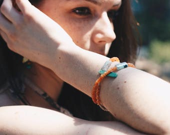 t e r r a. collection 50% proceeds to Rainforest Alliance / Bohemia / beaded wrap bracelet / orange jade / natural stone / anklet / mint