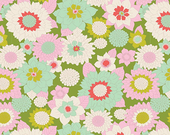 TILDA LEMONTREE - Boogie Flower Green 100012 - 1/4 yard