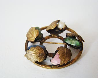 Vintage Costume Jewelry Signed Sarah Coventry Bronze  Metal Pin Natural Stone, Circle Colorful Pastel Stones Wrapped Leaves
