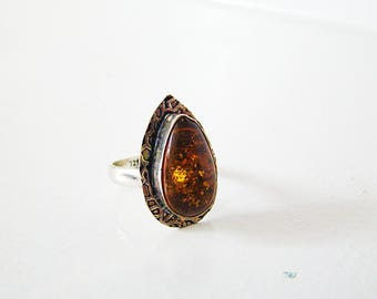 Vintage 925 Sterling Silver Ring Overlay W/Amber Pear Shape Gemstone Size 8.0