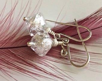Clear Venetian Glass Earrings  Sterling Silver Earrings