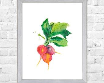 Vegetable Watercolor Painting, Kitchen Wall Art, Kitchen Art Print, Radish Art, Kitchen Wall Decor, Wall Art Kitchen