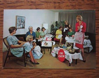 Original Vintage Tri Chem Home Party Advertising Postcard, Direct Sales Postcard, 1950's, 1960's,Retro Home Products Postcard, Kitsch, Humor