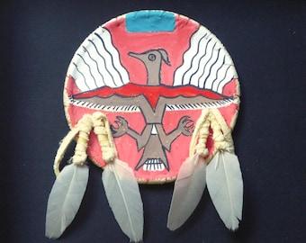 Native American Indian Plains style shield mini replica framed Thunderbird spirit ghost dance power shamanic leather feathers southwestern