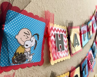 Snoopy peanuts birthday banner sign