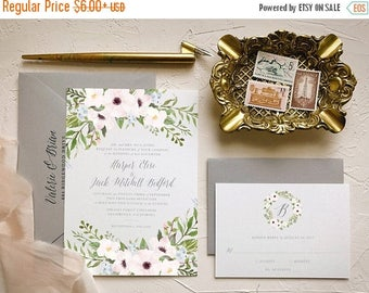 Dusty Blue Blush Invitation Suite for Boho Chic Wedding