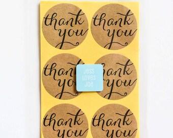 24 Thank You Kraft Circle Stickers