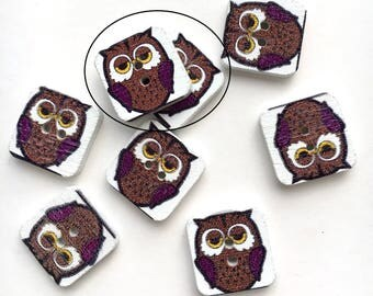 X 1 button square wood Brown owl (hole height) 15X15mm