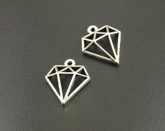 X 2 Tibetan silver hollow diamond