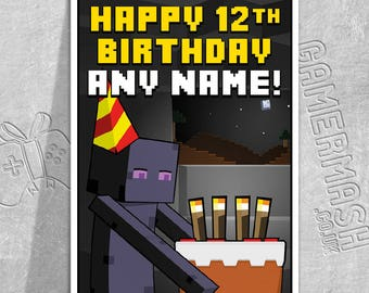 PERSONALISED BIRTHDAY CARD - Enderman Cake - Minecraft Themed
