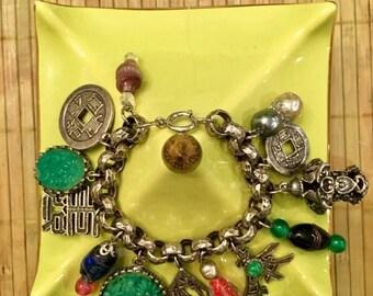 SALE Vintage Oriental Charm Bracelet