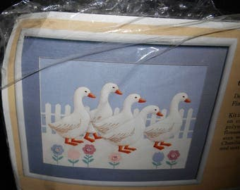 Embroidery Kit Creative Circle 0845 On Parade Ducks Designed by Charlotte Reilly