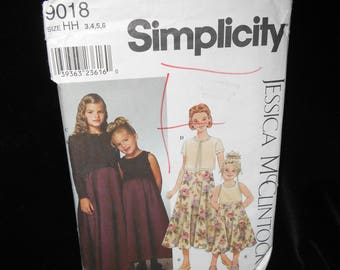 Childs Cardigan Simplicity 9018 Jessica McClintock Girls Dress Sizes 3-6