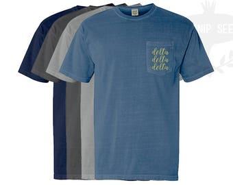 Delta Delta Delta Embroidery T-Shirt - Tri Delta Script - Comfort Colors Shirt with Pocket