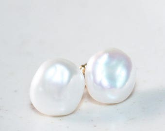 Genuine Freshwater Keshi Pearl Stud Earrings, 14K Gold Filled, Silvery White Pearl, Baroque Pearl, June Birthstone, Mother's Day Gift