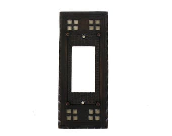 Arts and Crafts or Mission Brass Single Rocker Switch Plate Bungalow Style