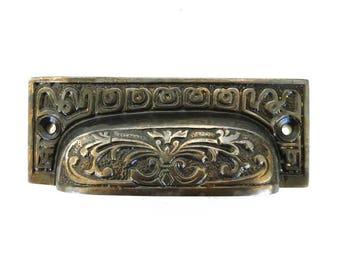 Old Fashioned DARKENED Bronze Brass BIN PULL Victorian Vintage Replica Hardware for Restoration