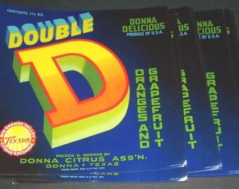 Lot of vintage unused Double D fruit-crate labels
