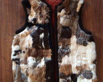 """Calico Rabbit Fur Vest Size 38"""" Chest"""